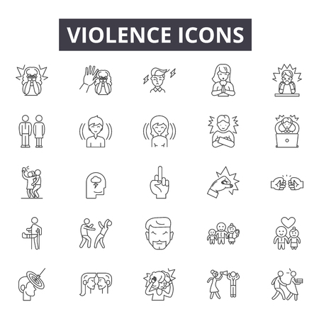 Violence line icons, signs set, vector. Violence outline concept illustration: violence,crime,people,hand,abuse