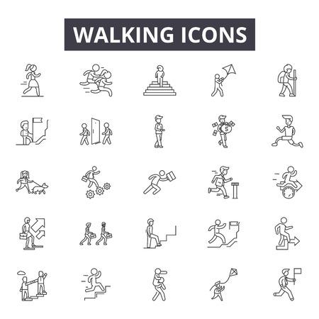 Walking line icons, signs set, vector. Walking outline concept illustration: man,pictogram,walk,traffic,road
