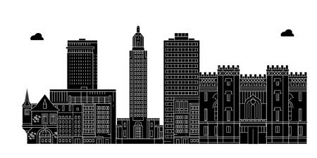 Illustration pour Baton Rouge , United States, outline travel skyline vector illustration. - image libre de droit