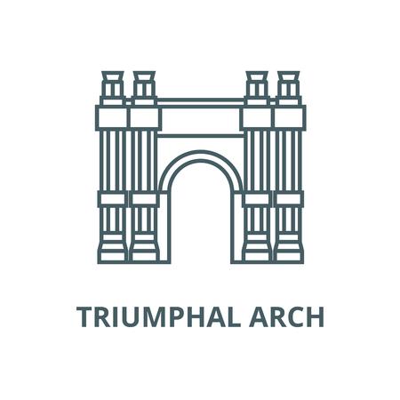 Triumphal arch vector line icon, outline concept, linear sign