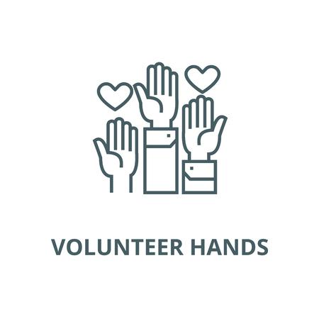 Illustration pour Volunteer hands vector line icon, outline concept, linear sign - image libre de droit
