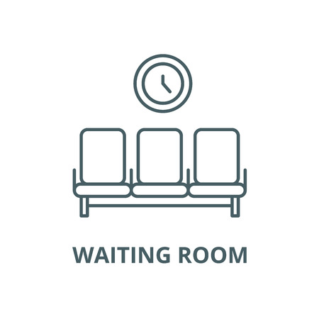 Waiting room vector line icon, outline concept, linear sign