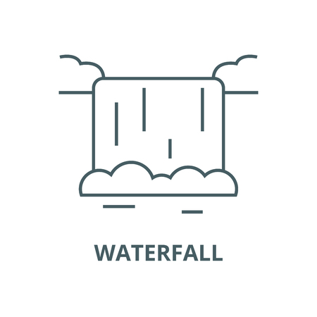 Waterfall vector line icon, outline concept, linear signのイラスト素材
