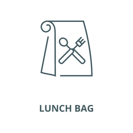 Vektor für Lunch bag vector line icon, outline concept, linear sign - Lizenzfreies Bild