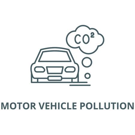 Illustration pour Motor vehicle pollution vector line icon, outline concept, linear sign - image libre de droit