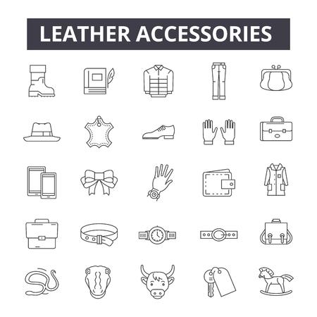 Ilustración de Leather accessories line icons, signs, vector set, outline concept, linear illustration - Imagen libre de derechos