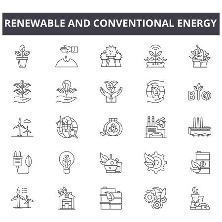 Ilustración de Renewable and conventional energy line icons, signs, vector set, outline concept, linear illustration - Imagen libre de derechos