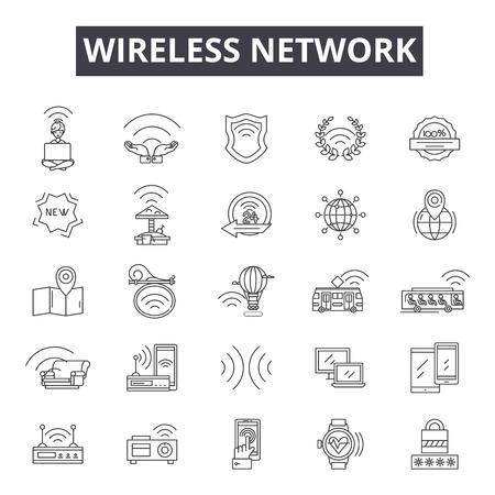 Illustration pour Wireless network line icons, signs, vector set, outline concept, linear illustration - image libre de droit