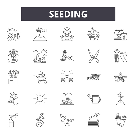Illustration for Seeding line icons, signs, vector set, outline concept, linear illustration - Royalty Free Image