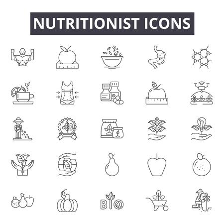 Illustration pour Nutritionist line icons, signs, vector set, outline concept, linear illustration - image libre de droit