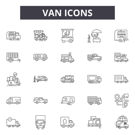 Ilustración de Van line icons, signs, vector set, outline concept, linear illustration - Imagen libre de derechos
