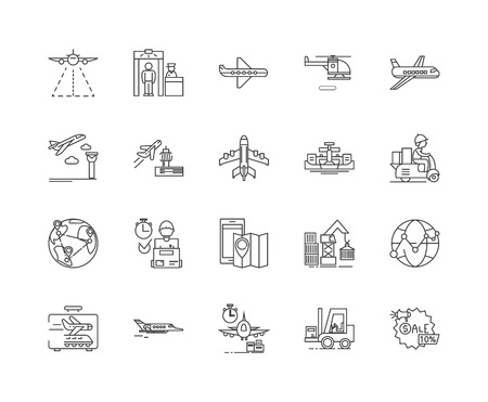 Ilustración de Aerial services line icons, linear signs, vector set, outline concept illustration - Imagen libre de derechos