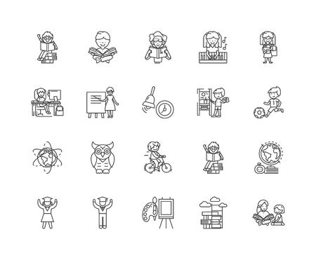 Illustration pour Child development centre line icons, linear signs, vector set, outline concept illustration - image libre de droit