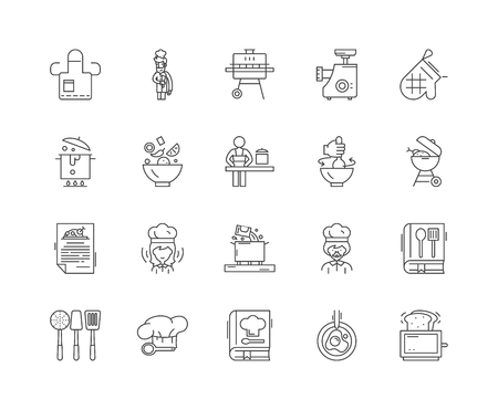 Illustration for Cookery concept line icons, linear signs, vector set, outline concept illustration - Royalty Free Image