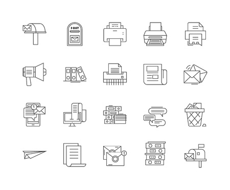 Correspondence line icons, linear signs, vector set, outline concept illustration