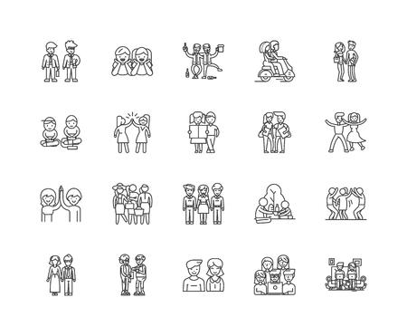 Illustration pour Friendship line icons, linear signs, vector set, outline concept illustration - image libre de droit