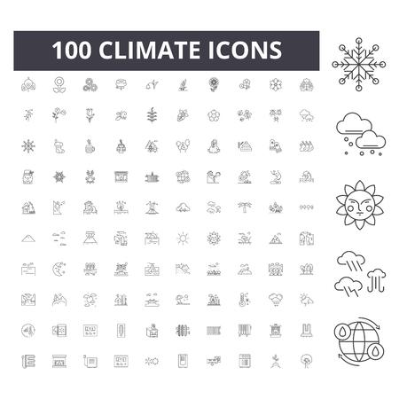 Illustration pour Climate line icons, signs, vector set, outline concept illustration - image libre de droit