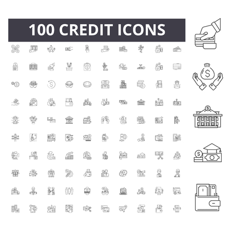 Ilustración de Credit line icons, signs, vector set, outline concept illustration - Imagen libre de derechos