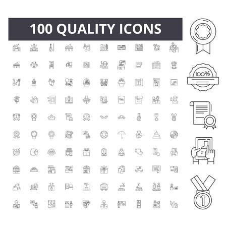 Illustration pour Quality line icons, signs, vector set, outline concept illustration - image libre de droit