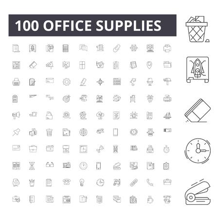 Illustration pour Office supplies line icons, signs, vector set, outline concept illustration - image libre de droit
