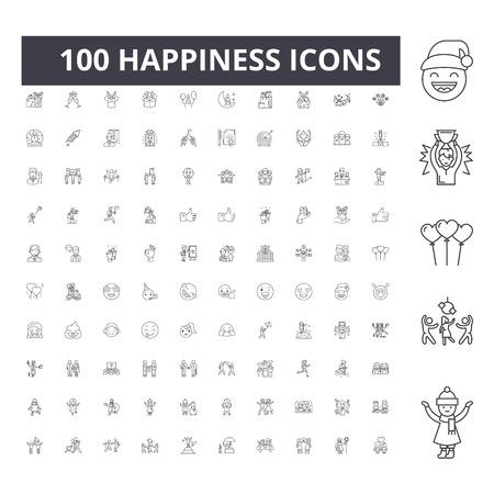 Ilustración de Happiness line icons, signs, vector set, outline concept illustration - Imagen libre de derechos