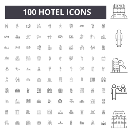 Ilustración de Hotel line icons, signs, vector set, outline concept illustration - Imagen libre de derechos