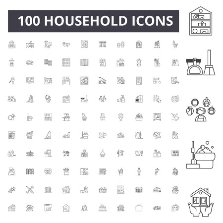 Ilustración de Household line icons, signs, vector set, outline concept illustration - Imagen libre de derechos
