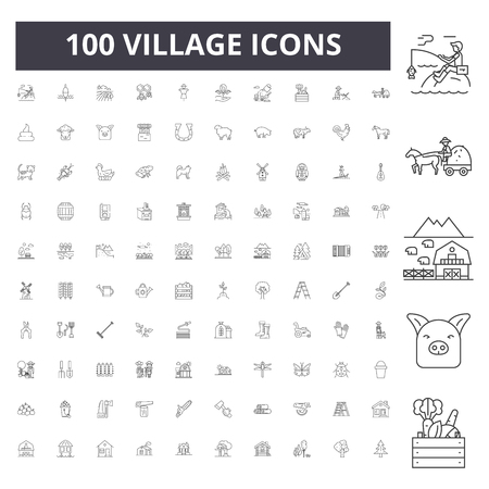 Ilustración de Village line icons, signs, vector set, outline concept illustration - Imagen libre de derechos