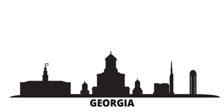 Georgia city skyline isolated vector illustration. Georgia travel cityscape with landmarks