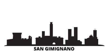 Illustration pour Italy, San Gimignano city skyline isolated vector illustration. Italy, San Gimignano travel cityscape with landmarks - image libre de droit