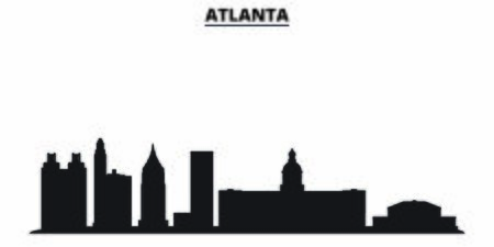 United States, Atlanta City city skyline isolated vector illustration. United States, Atlanta City travel cityscape with landmarks