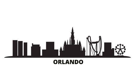 Illustration pour United States, Orlando city skyline isolated vector illustration. United States, Orlando travel cityscape with landmarks - image libre de droit