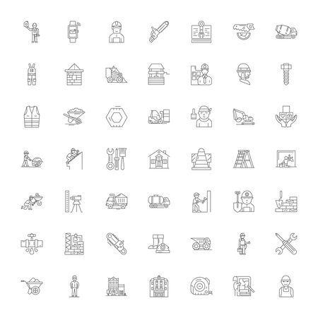 Ilustración de Contractor line icons, signs, symbols vector, linear illustration set - Imagen libre de derechos