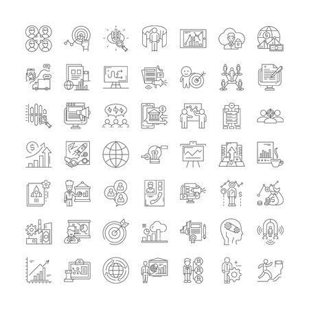 Illustration pour Hitech business line icons, signs, symbols vector, linear illustration set - image libre de droit