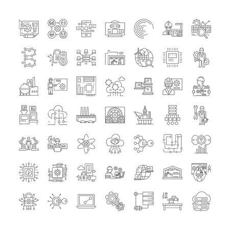 Illustration pour Infrastructure development line icons, signs, symbols vector, linear illustration set - image libre de droit