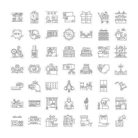 Illustration pour Shopping mall line icons, signs, symbols vector, linear illustration set - image libre de droit