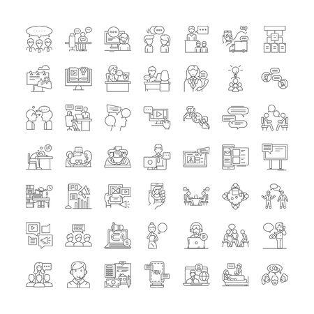 Illustration pour Lecture line icons, signs, symbols vector, linear illustration set - image libre de droit