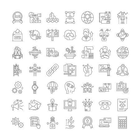 Illustration pour Strategic management line icons, signs, symbols vector, linear illustration set - image libre de droit