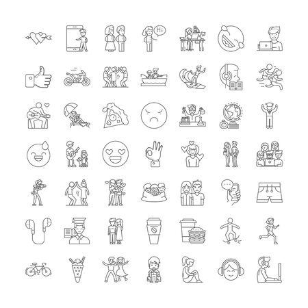 Illustration pour Friends line icons, signs, symbols vector, linear illustration set - image libre de droit