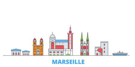 Illustration pour France, Marseille cityscape line vector. Travel flat city landmark, oultine illustration, line world icons - image libre de droit
