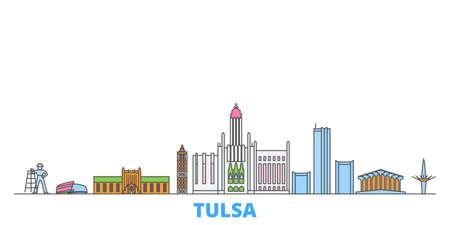 Illustration pour United States, Tulsa cityscape line vector. Travel flat city landmark, oultine illustration, line world icons - image libre de droit