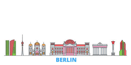 Germany, Berlin cityscape line vector. Travel flat city landmark, oultine illustration, line world icons