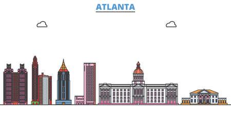 Illustration for United States, Atlanta cityscape line vector. Travel flat city landmark, oultine illustration, line world icons - Royalty Free Image