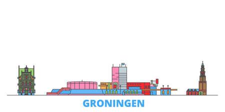 Illustration pour Netherlands, Groningen cityscape line vector. Travel flat city landmark, oultine illustration, line world icons - image libre de droit