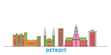 Illustration pour United States, Detroit cityscape line vector. Travel flat city landmark, oultine illustration, line world icons - image libre de droit
