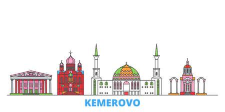Illustration pour Russia, Kemerovo cityscape line vector. Travel flat city landmark, oultine illustration, line world icons - image libre de droit