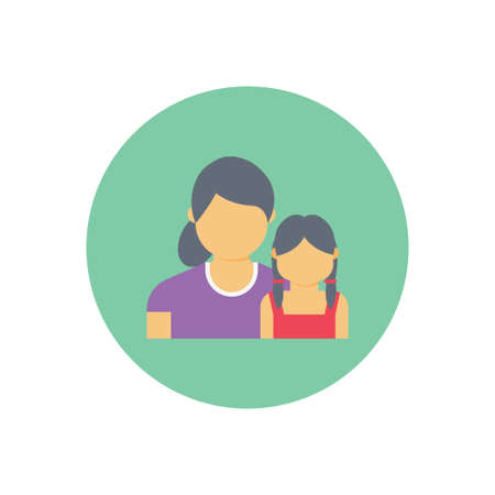 Illustration pour Mom daughter vector flat colour icon - image libre de droit