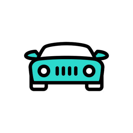 Illustration for car vector line colour icon - Royalty Free Image