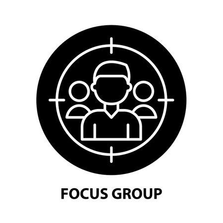 Ilustración de focus group icon, black vector sign with editable strokes, concept illustration - Imagen libre de derechos