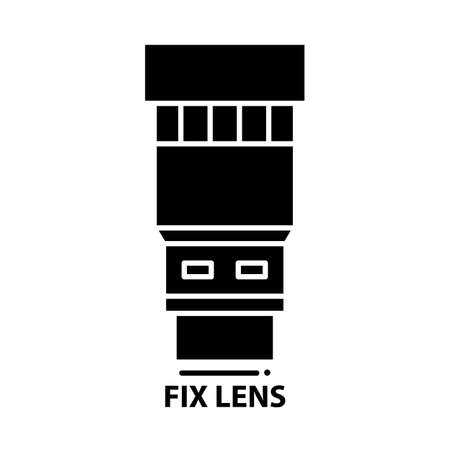 fix lens icon, black vector sign with editable strokes, concept illustration